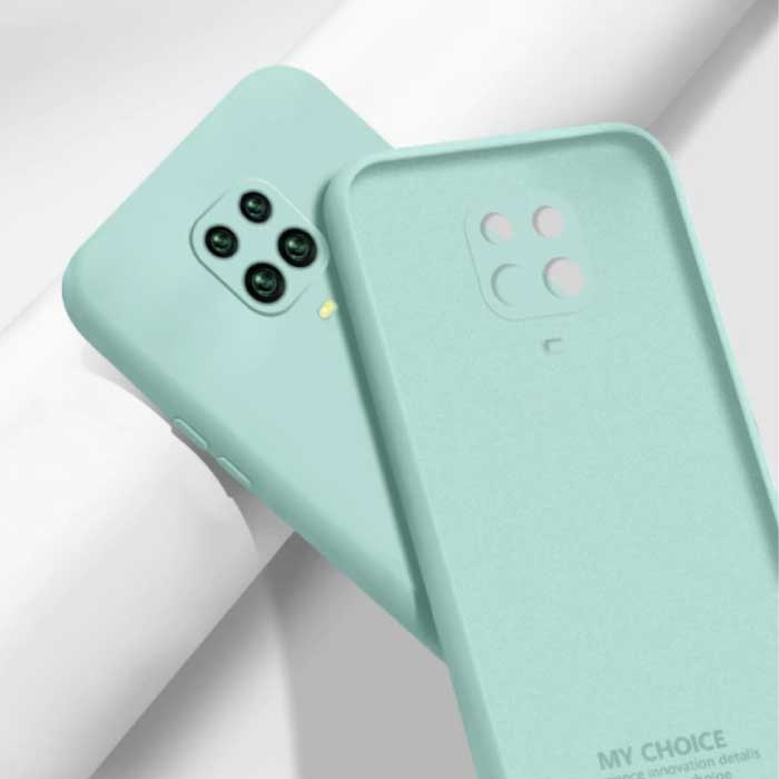 Xiaomi Redmi Note 10S Carré Silicone Case - Soft Matte Case Liquid Cover Light Green