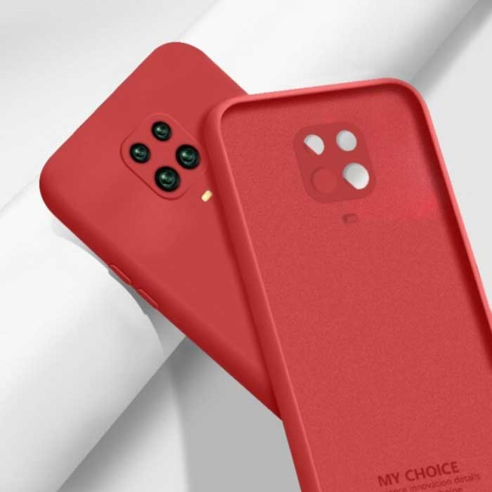 Xiaomi Redmi Note 10S Square Silicone Case - Soft Matte Case Liquid Cover Red