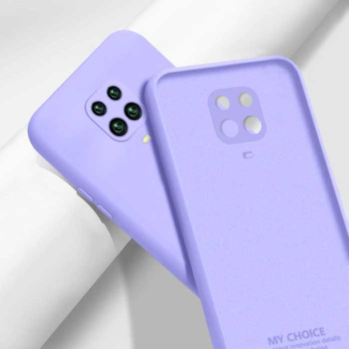 Xiaomi Redmi Note 10S Square Silicone Case - Soft Matte Case Liquid Cover Light Purple