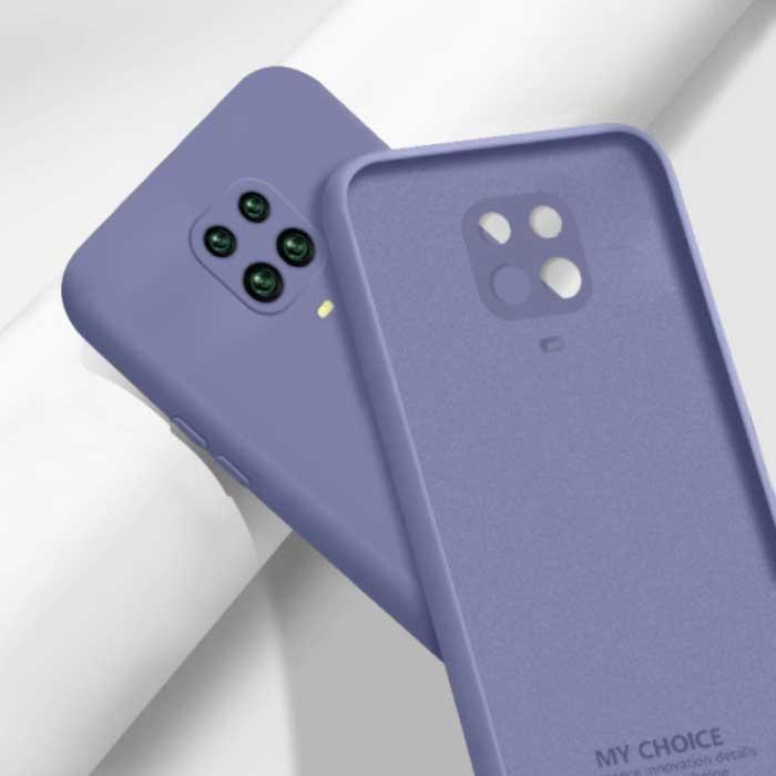 Xiaomi Redmi Note 10S Square Silicone Hoesje - Zachte Matte Case Liquid Cover Donkerpaars
