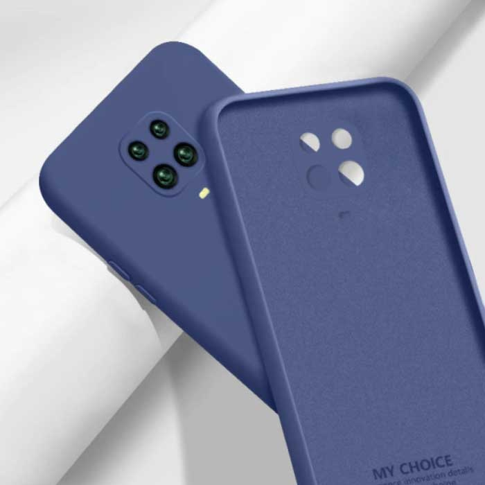 Xiaomi Redmi Note 10S Carré Silicone Case - Soft Matte Case Liquid Cover Bleu