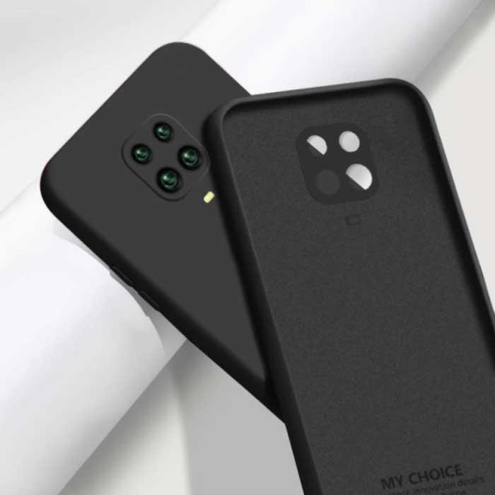 Xiaomi Redmi K40 Pro Square Silicone Hoesje - Zachte Matte Case Liquid Cover Zwart