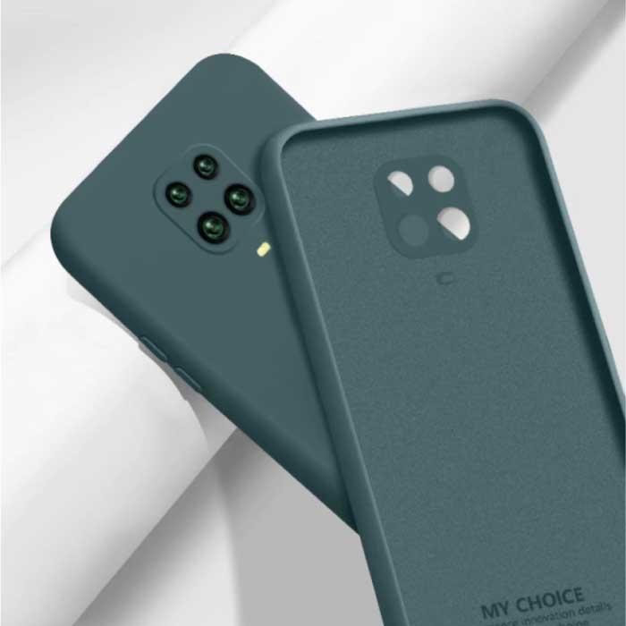 Xiaomi Redmi Note 10S Square Silicone Hoesje - Zachte Matte Case Liquid Cover Donkergroen