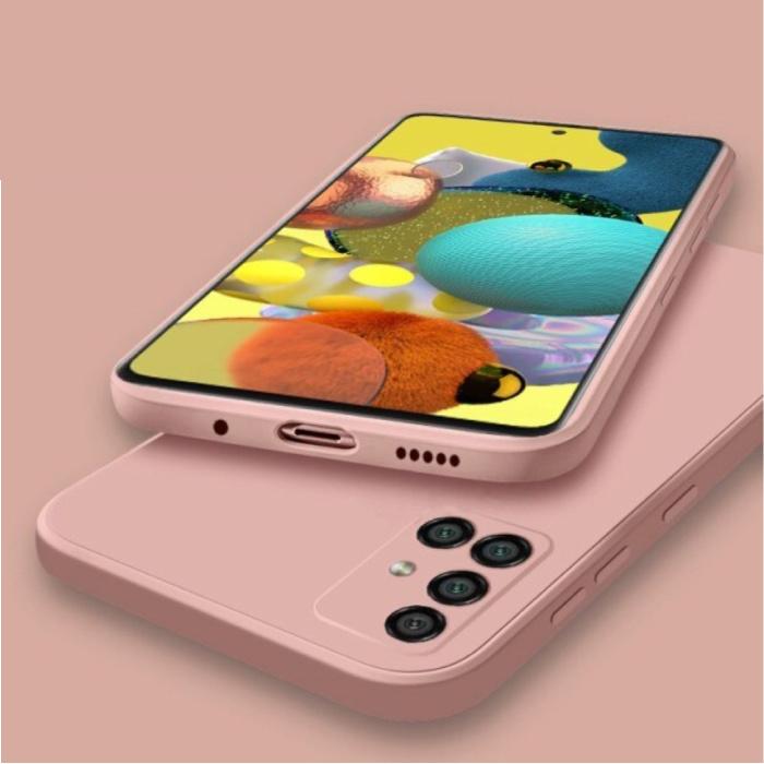 Samsung Galaxy A21s Square Silicone Hoesje - Zachte Matte Case Liquid Cover Roze