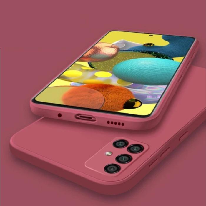 Samsung Galaxy A41 Square Silicone Case - Soft Matte Case Liquid Cover Red