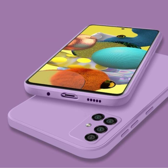 Samsung Galaxy A41 Square Silicone Hoesje - Zachte Matte Case Liquid Cover Paars