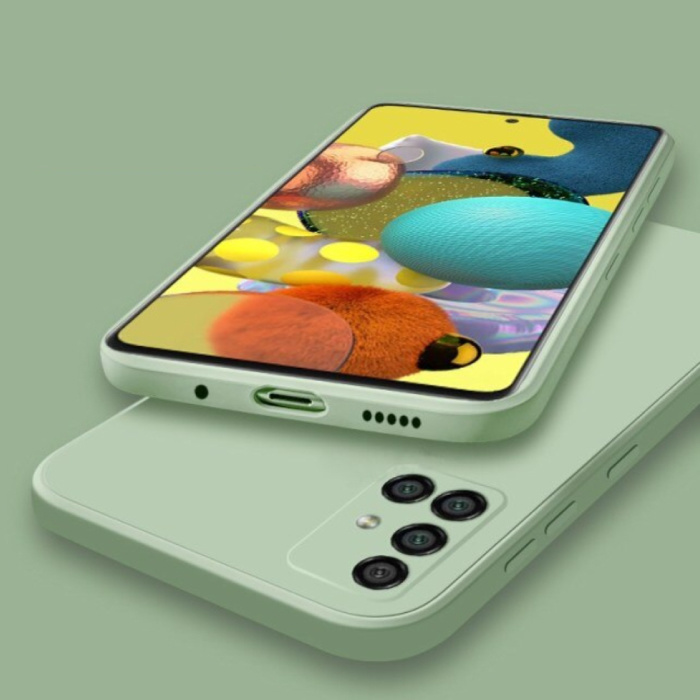 Coque en silicone carrée Samsung Galaxy A21s - Coque souple et mate Liquid Cover Vert