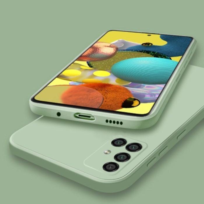 Samsung Galaxy A21s Square Silicone Hoesje - Zachte Matte Case Liquid Cover Groen