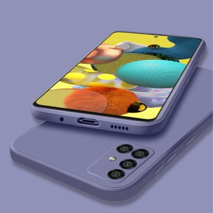 Samsung Galaxy A52 Square Silicone Case - Soft Matte Case Liquid Cover Dark Purple