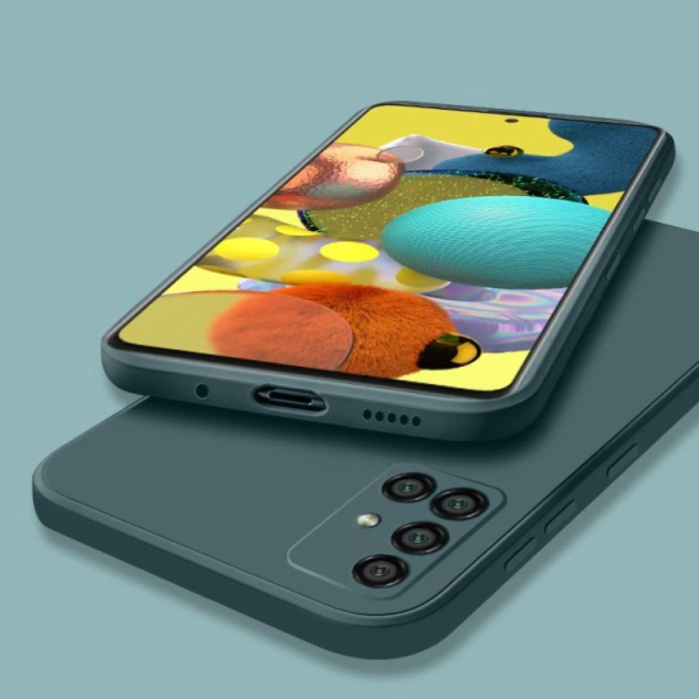 Samsung Galaxy A41 Square Silicone Hoesje - Zachte Matte Case Liquid Cover Donkergroen