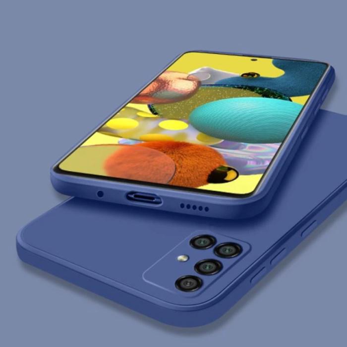 Samsung Galaxy A21s Square Silicone Hoesje - Zachte Matte Case Liquid Cover Blauw