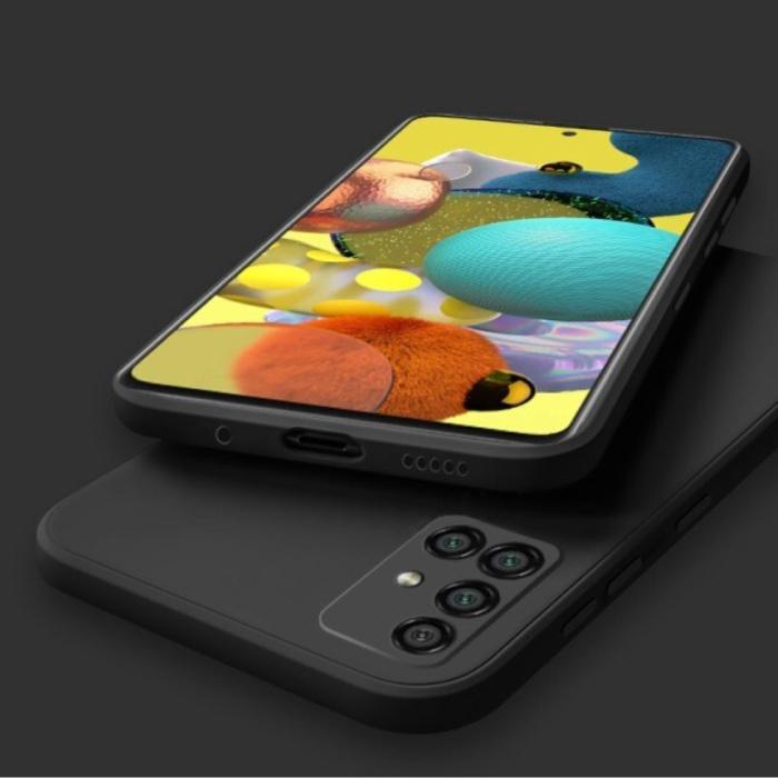 Samsung Galaxy A21s Square Silicone Hoesje - Zachte Matte Case Liquid Cover Zwart