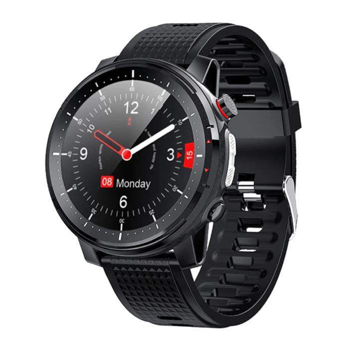 Sport Smartwatch met Hartslagmeter -  Fitness Sport Activity Tracker Siliconen Bandje Horloge iOS Android Zwart