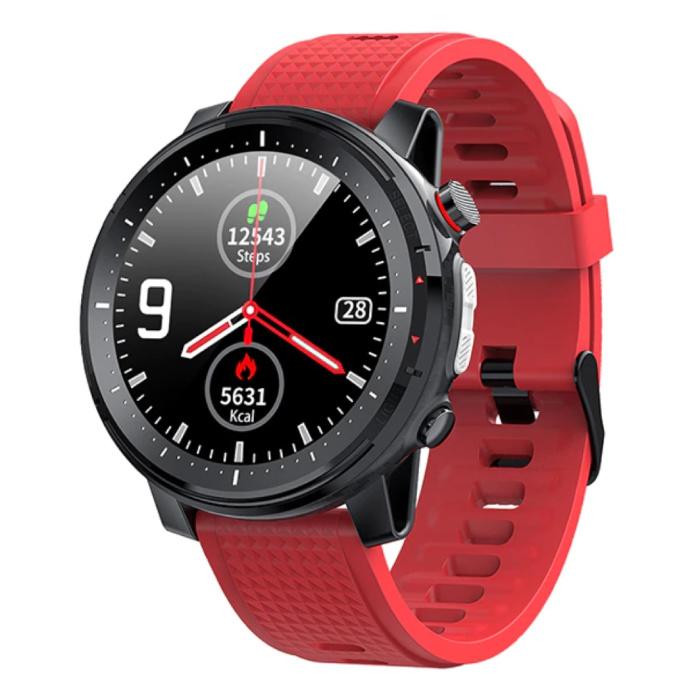 Sport Smartwatch met Hartslagmeter -  Fitness Sport Activity Tracker Siliconen Bandje Horloge iOS Android Rood