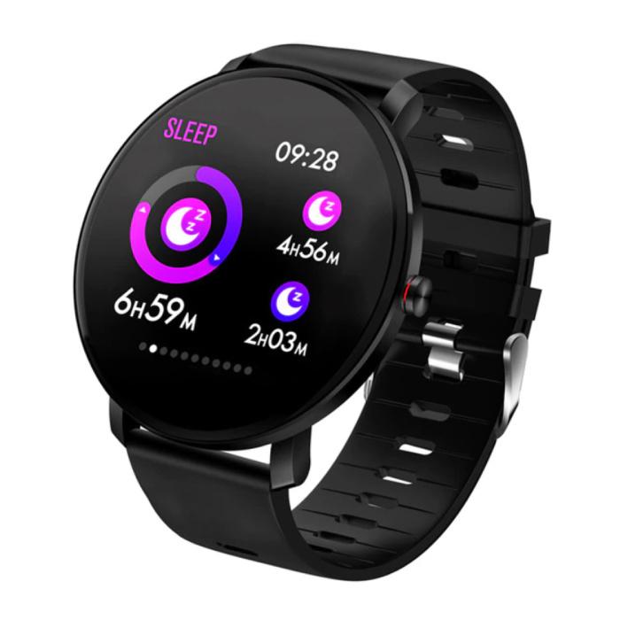 Montre Connectée Sport IP68 - Montre Bracelet en Silicone pour Tracker d'Activité Sportive de Fitness iOS Android Noir