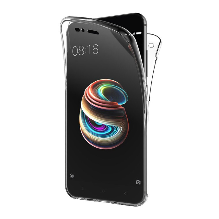 Coque Xiaomi Mi A1 Full Body 360° - Coque en Silicone TPU Transparente Protection Complète + Protecteur d'écran PET