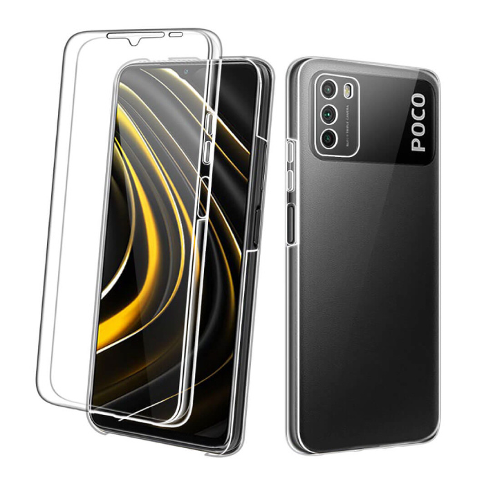 Xiaomi Poco M3 Full Body 360° Case - Full Protection Transparent TPU Silicone Case + PET Screen Protector