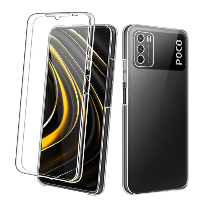 Xiaomi Poco M3 Full Body 360° Hoesje - Volledige Bescherming Transparant TPU Silicone Case + PET Screenprotector