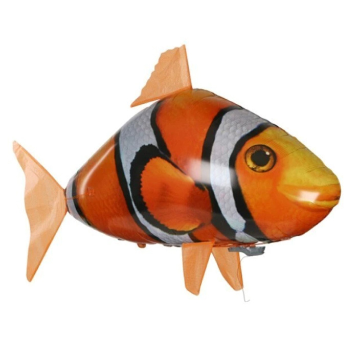 Drone gonflable de ballon de poisson-clown RC avec télécommande - Jouet contrôlable robot poisson animal orange