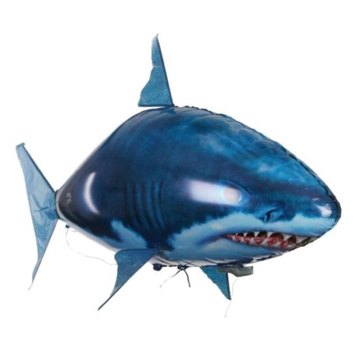 Drone gonflable de ballon de requin de RC avec la télécommande - jouet contrôlable de robot poisson animal bleu