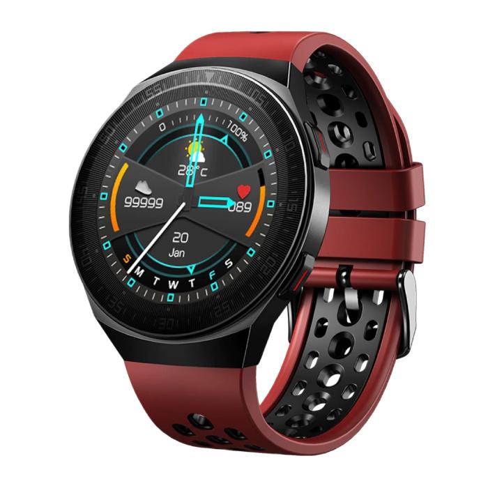 Montre intelligente MT-3 avec haut-parleur et moniteur de fréquence cardiaque - Montre de suivi d'activité sportive et de fitness avec bracelet en gel de silice iOS Android Rouge