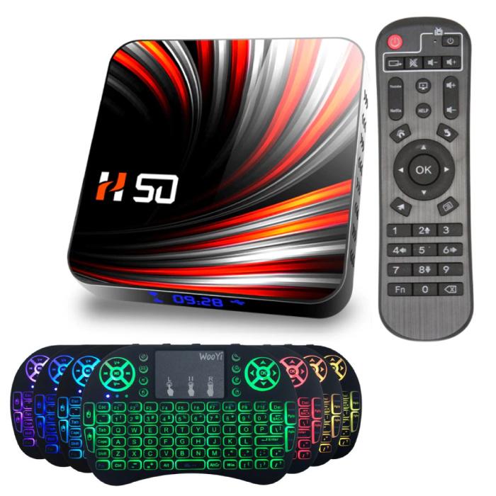 Lecteur multimédia H50 TV Box avec clavier RGB sans fil - Android 10 - 4K - Kodi - 4 Go de RAM - 32 Go de stockage