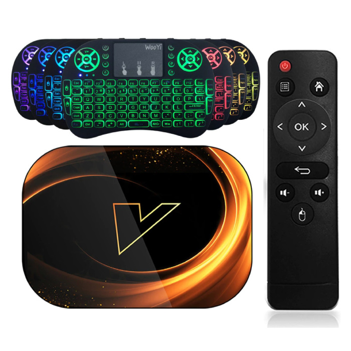 X3 TV Box Media Player Android 9.0 Kodi avec clavier RGB sans fil - Bluetooth 4.0 - 8K - 4 Go de RAM - 128 Go de stockage