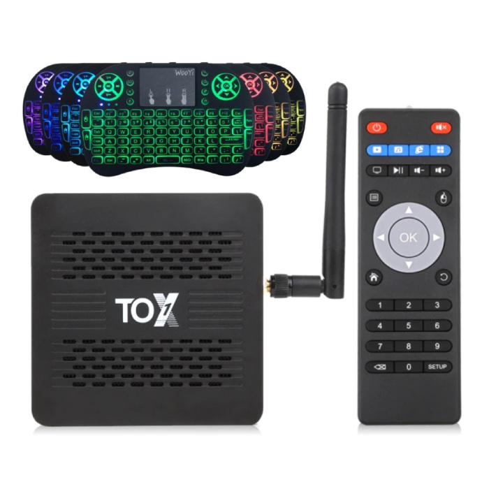 TOX1 TV Box Mediaspeler Android 9.0 Kodi met Draadloos RGB Toetsenbord - Bluetooth 4.2 - 4K - 4GB RAM - 32GB Opslagruimte
