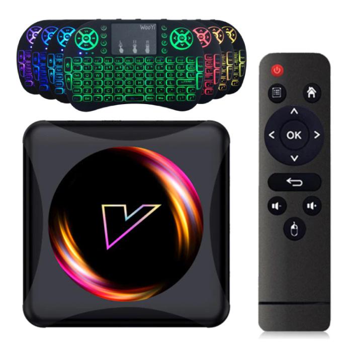 Lecteur multimédia Z5 TV Box Android 10.0 Kodi avec clavier RGB sans fil - 4K - 2 Go de RAM - 16 Go de stockage