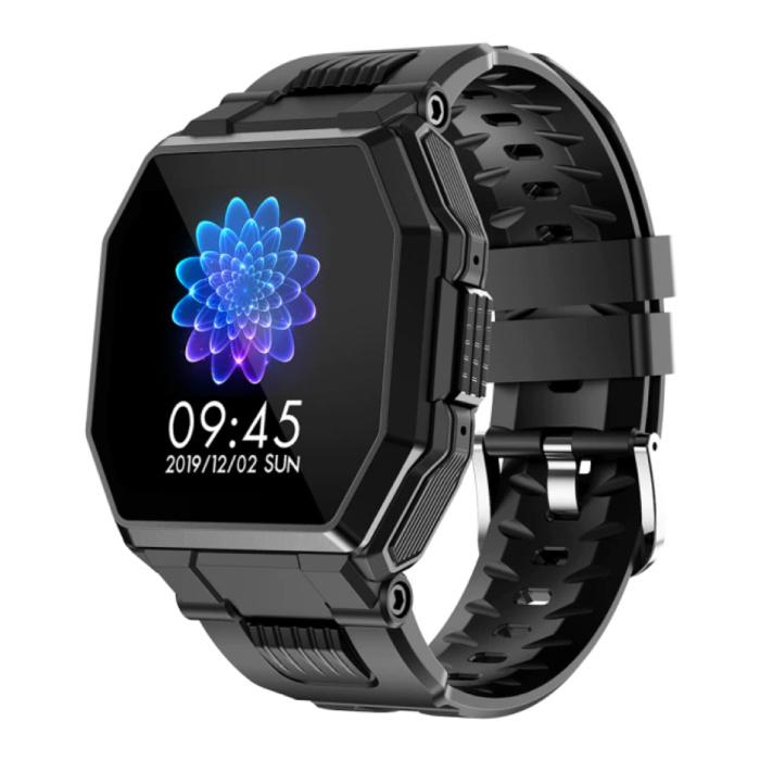 Montre intelligente S9 avec câble de charge magnétique - Montre de suivi d'activité sportive et de fitness avec bracelet en gel de silice iOS Android Noir