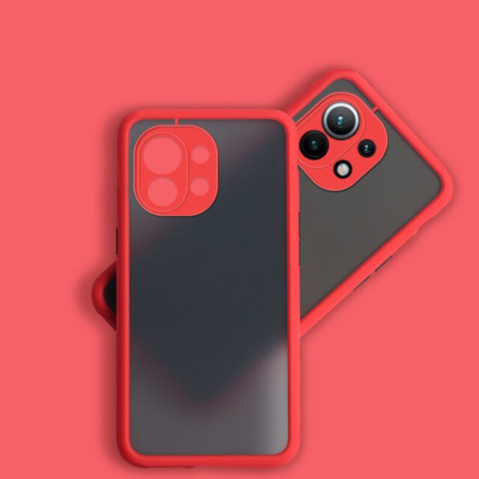 Xiaomi Mi 11 Lite Case with Frame Bumper - Case Cover Silicone TPU Anti-Shock Red