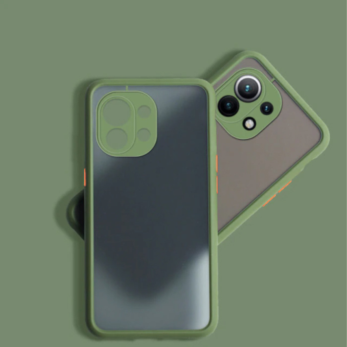 Xiaomi Poco M3 Pro Hoesje met Frame Bumper - Case Cover Silicone TPU Anti-Shock Kaki