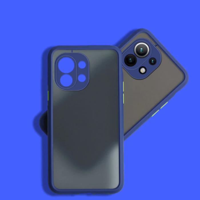 Xiaomi Poco M3 Hoesje met Frame Bumper - Case Cover Silicone TPU Anti-Shock Blauw