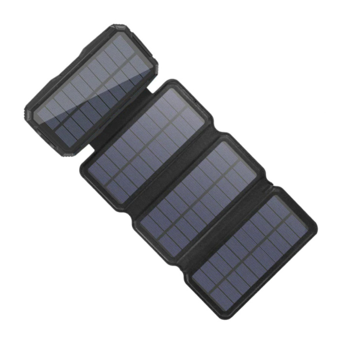 26800mAh Draagbare Solar Powerbank 4 Zonnepanelen - Flexibele Zonne-energie Oplader 7.5W Zon Zwart