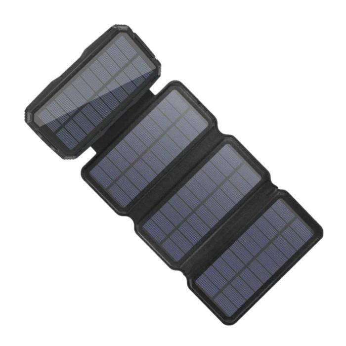Banque d'énergie solaire portable 26800mAh 4 panneaux solaires - Chargeur de batterie à énergie solaire flexible 7.5W Sun Black