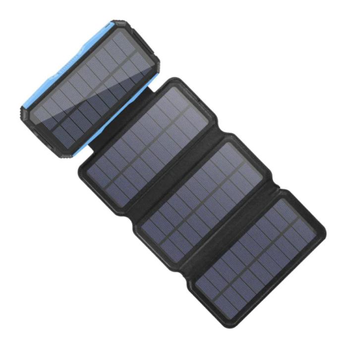 26800mAh Draagbare Solar Powerbank 4 Zonnepanelen - Flexibele Zonne-energie Oplader 7.5W Zon Blauw