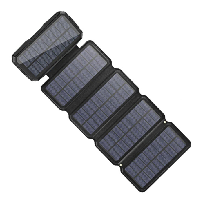 Banque d'énergie solaire portable 26800mAh 5 panneaux solaires - Chargeur de batterie à énergie solaire flexible 7.5W Sun Black