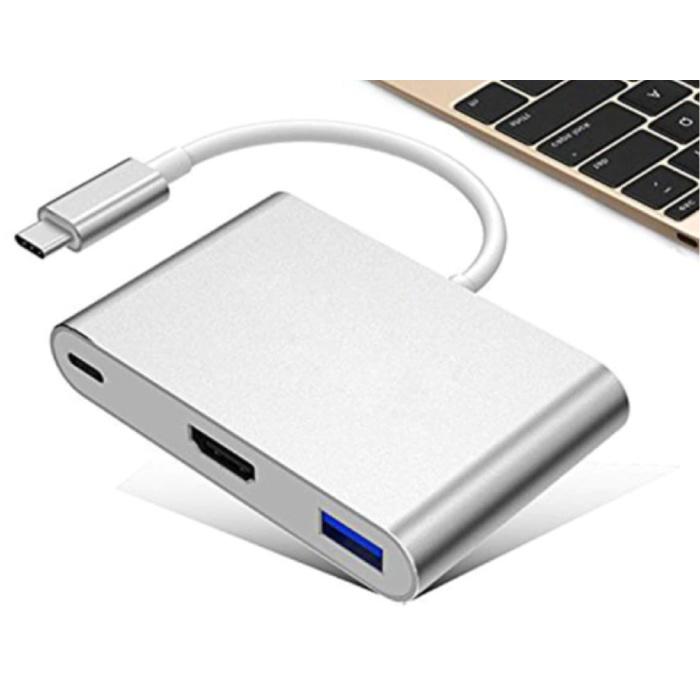 Hub USB-C 6 en 1 pour Macbook Pro / Air - USB 3.0 / Type C / HDMI / Ethernet - Répartiteur de transfert de données Hub RJ45 Argent - Copy