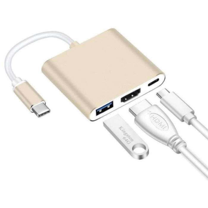 Hub USB-C 3 en 1 - Compatible avec Macbook Pro / Air - USB 3.0 / Type C PD / HDMI - Répartiteur de transfert de données Or