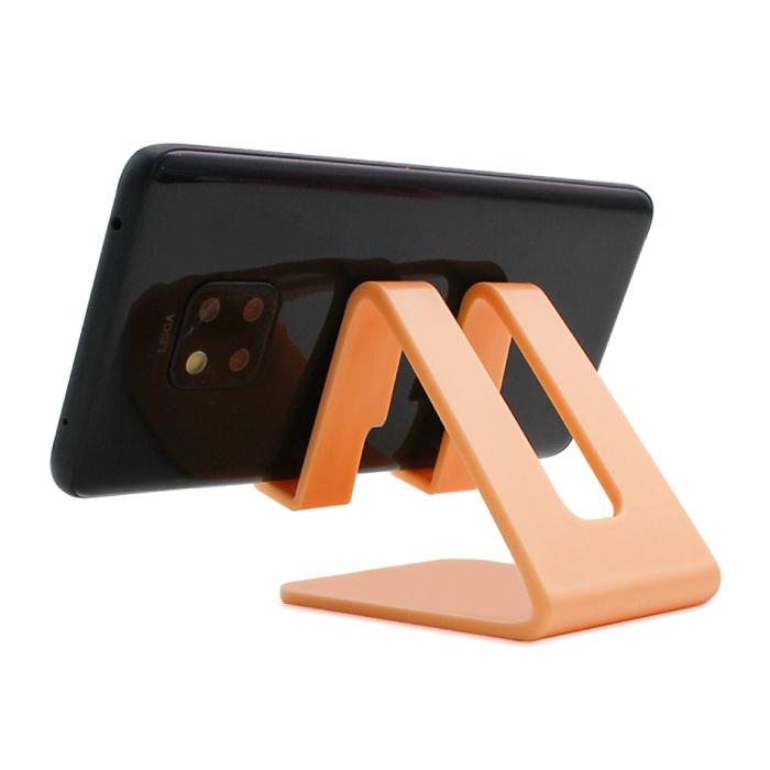 Universele Telefoonhouder Bureau Standaard - Opening voor Oplader - Videobellen Smartphone Holder Desk Stand Oranje