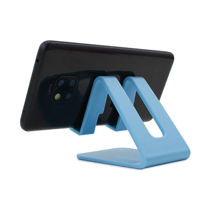 Universele Telefoonhouder Bureau Standaard - Opening voor Oplader - Videobellen Smartphone Holder Desk Stand Blauw