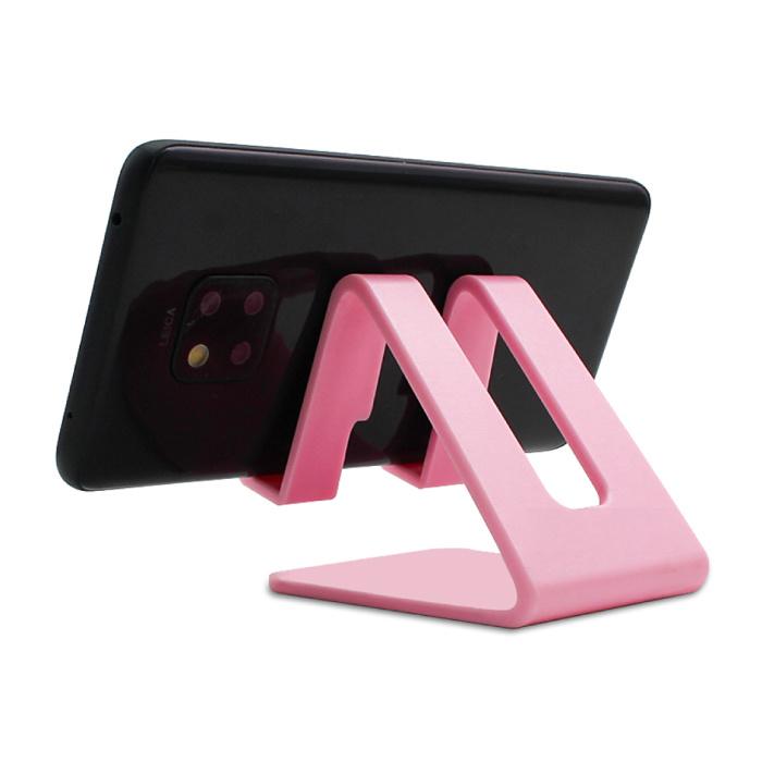 Universele Telefoonhouder Bureau Standaard - Opening voor Oplader - Videobellen Smartphone Holder Desk Stand Roze