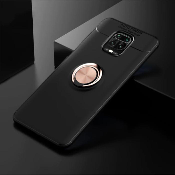 Coque Xiaomi Poco F2 Pro avec Anneau Métallique - Housse Antichoc Auto Focus Cas TPU Noir-Or + Béquille