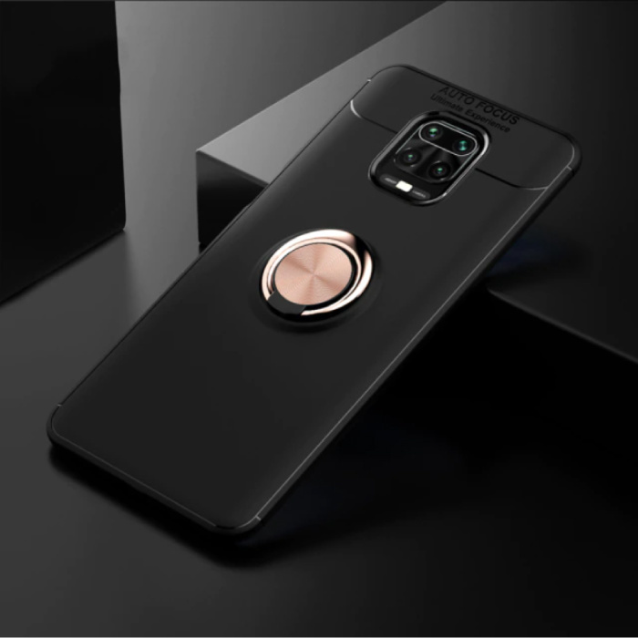 Xiaomi Poco F2 Pro Case with Metal Ring - Auto Focus Shockproof Case Cover Cas TPU Black-Gold + Kickstand