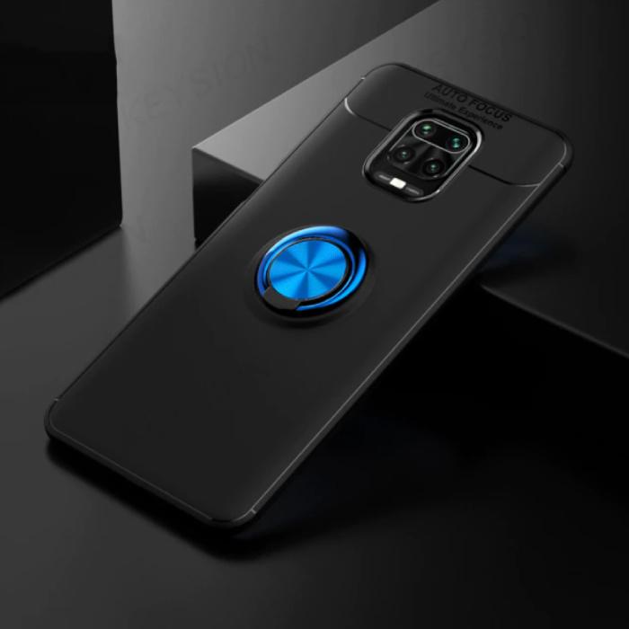 Coque Xiaomi Poco F2 Pro avec anneau en métal - Housse antichoc pour mise au point automatique Cas TPU Noir-Bleu + Béquille