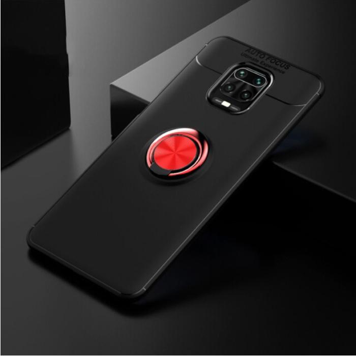 Coque Xiaomi Poco F2 Pro avec Anneau Métallique - Housse Antichoc Auto Focus Cas TPU Noir-Rouge + Béquille