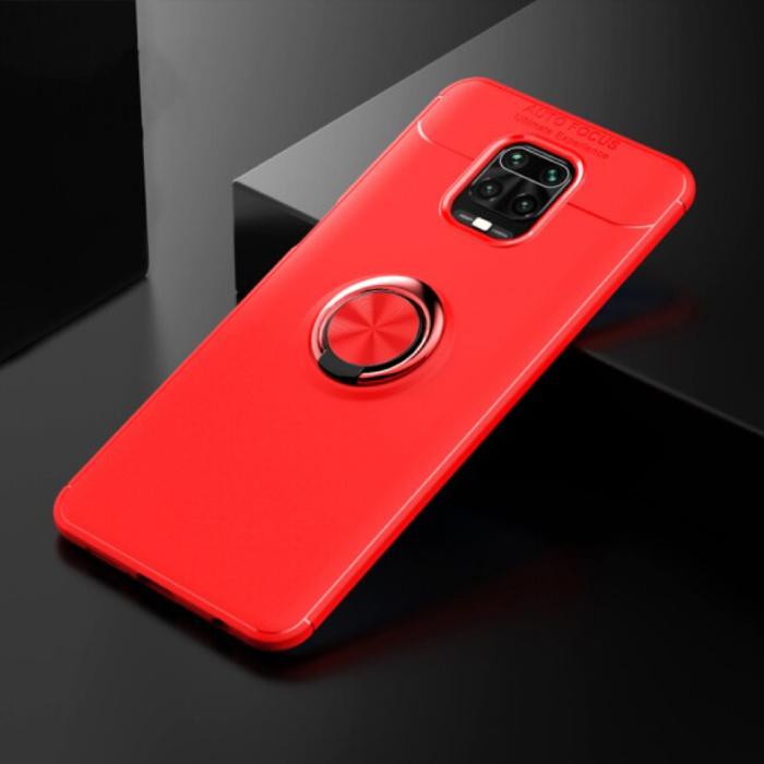 Xiaomi Poco F2 Pro Hoesje met Metalen Ring  - Auto Focus Shockproof Case Cover Cas TPU Rood + Kickstand