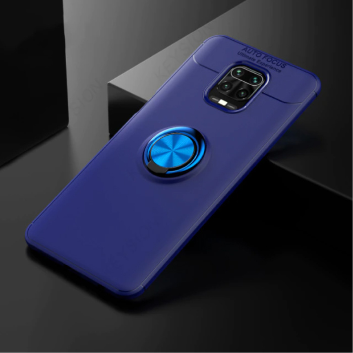 Xiaomi Poco F2 Pro Case with Metal Ring - Auto Focus Shockproof Case Cover Cas TPU Blue + Kickstand