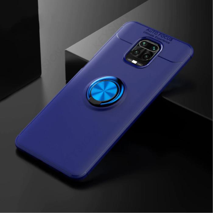 Xiaomi Poco F2 Pro Hoesje met Metalen Ring  - Auto Focus Shockproof Case Cover Cas TPU Blauw + Kickstand