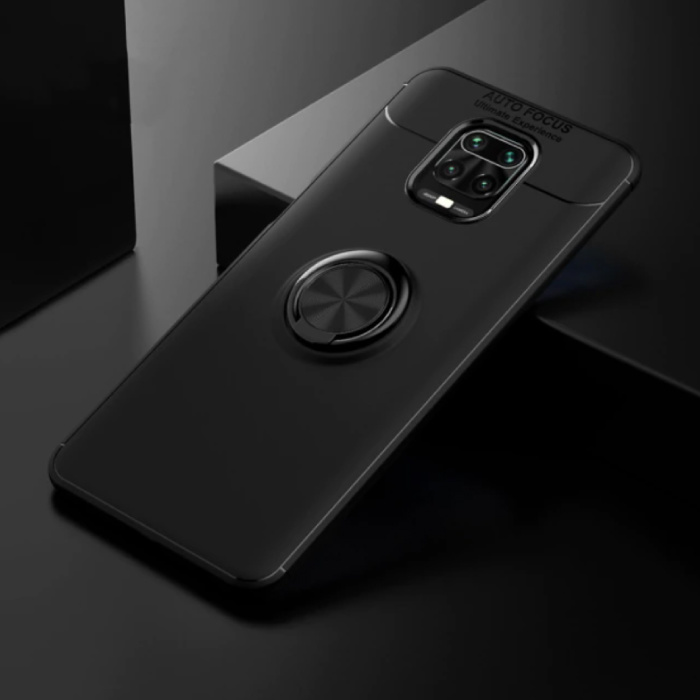 Xiaomi Poco F2 Pro Case with Metal Ring - Auto Focus Shockproof Case Cover Cas TPU Black + Kickstand